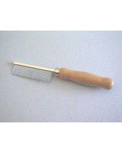 Peigne manche en bois Denture métal peu espacée 18 cm