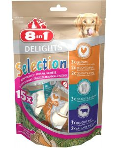 8in1 Delights Selection Os et Sticks x15 - La Compagnie des Animaux