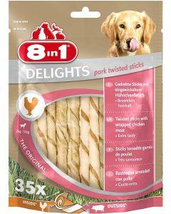 8in1 Delights Twisted Sticks Porc XS pour chien x35 - La Compagnie des Animaux