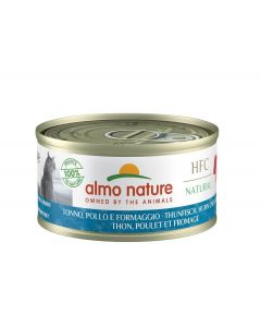 Almo Nature Chat Natural HFC Thon, Poulet et Fromage 24 x 70 grs