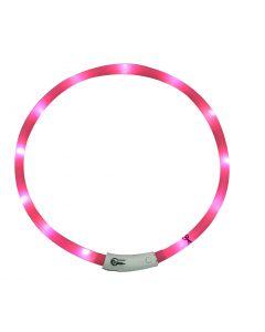 Bubimex Collier Lumineux LED rose 20-70 cm - La Compagnie des Animaux
