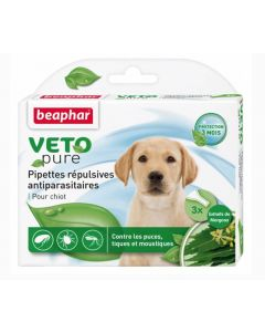 Beaphar VETOpure 3 Pipettes répulsives antiparasitaires chiot