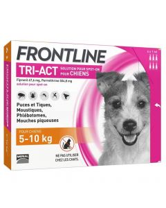 Frontline Tri Act spot on chiens 5 - 10 kg 6 pipettes- La Compagnie des Animaux