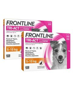 Frontline Tri Act spot on Petit chien 5 - 10 kg 6 pipettes + 3 pipettes