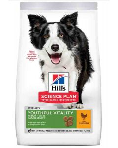 Hill's Science Plan Youthful Vitality Chien Medium Breed adult 7+ poulet 10 kg- La Compagnie des Animaux