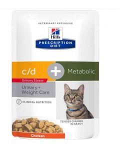 Hill's Prescription Diet Feline C/D Urinary Stress + Metabolic sachets 12 x 85 g