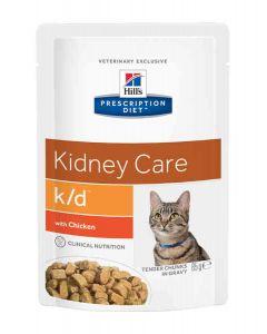 Hill's Prescription Diet Feline K/D Poulet SACHETS 12 x 85 grs- La Compagnie des Animaux