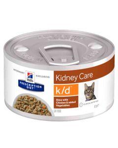 Hill's Prescription Diet Feline K/D mijotés au poulet et légumes 24 x 82 grs- La compagnie des Animaux