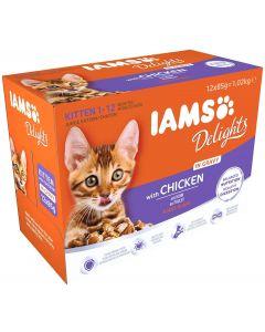 IAMS Delights Poulet en sauce chaton 12 x 85 grs - La Compagnie des Animaux