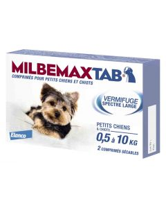 Milbemax Tab vermifuge chiots et petits chiens de 0,5 à 10kg 2cps