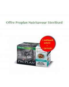 Purina Proplan Cat Nutrisavour Gelée Sterilised Poisson 10 x 85 g 1 acheté = 1 offert- La Compagnie des Animaux