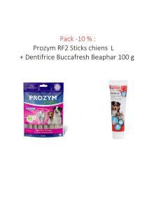 Pack -10 % : Prozym RF2 Sticks chiens L + Dentifrice Buccafresh Beaphar 100 g