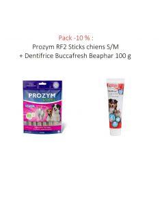 Pack -10 % : Prozym RF2 Sticks chiens S/M + Dentifrice Buccafresh Beaphar 100 g