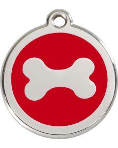 """RedDingo Médaille d'identité """"Os"""" rouge - La Compagnie des Animaux"""