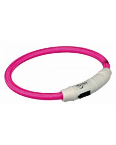 Trixie Collier Lumineux Safer Life USB Flash rose pour chien M-L