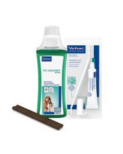 Pack Dentaire Virbac : 1 Kit de brossage dentaire + 1 Lamelle Dentaire Veggiedent FRESH M + 1 Vetaquadent Fresh 250 ml