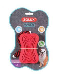 Zolux Jouet caoutchouc avec corde Titan L rouge