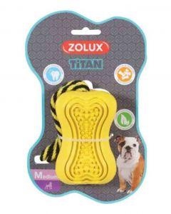 Zolux Jouet caoutchouc avec corde Titan M jaune