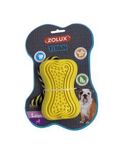 Zolux Jouet caoutchouc avec corde Titan S jaune