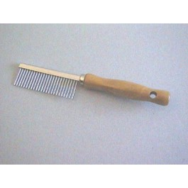 Peigne manche en bois Denture métal espacée 17.5 cm - Dogteur