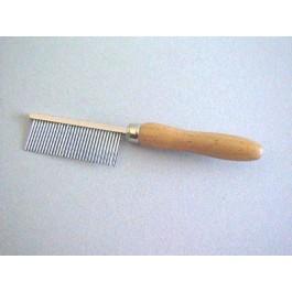 Peigne manche en bois Denture métal fine 17 cm - Dogteur