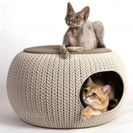 Curver Niche ronde aspect tricot avec coussin chien et chat Sable - Dogteur