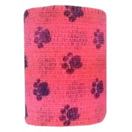 Bandes Cohésives 10 cm Empreinte rose fluo - Dogteur