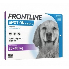 Frontline Spot on chien de 20-40 kg 4 pipettes - Dogteur
