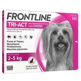 Frontline Tri Act spot on chiens 2 - 5 kg 3 pipettes - Dogteur