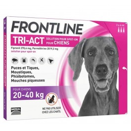 Frontline Tri Act spot on chiens 20 - 40 kg 3 pipettes - Dogteur