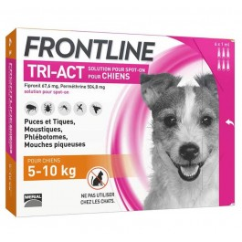 Frontline Tri Act spot on chiens 5 - 10 kg 6 pipettes - Dogteur