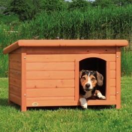 Natura Niche à toit plat brun pour chiens 85 x 58 x 60 cm - Dogteur