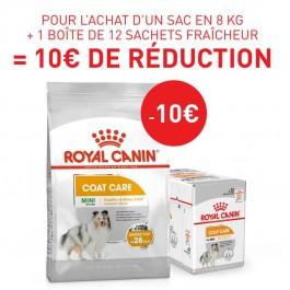 Offre Royal Canin: 1 sac Canine Care Nutrition Mini Coat Care 8 kg + 12 sachets Coat Care mousse achetés = 10€ de remise immédiate