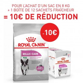 Offre Royal Canin: 1 sac Canine Care Nutrition Mini Relax Care 8 kg + 12 sachets Relax Care mousse achetés = 10€ de remise immédiate
