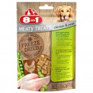 8in1 Freeze Dried Meaty Treats au poulet et aux petits pois pour chien 50 g