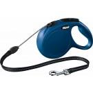 Laisse à enrouleur New Classic Flexi Cord L Bleu 8 m- La Compagnie des Animaux