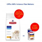 Offre Hill's: 1 sac Science Plan Canine Mature Adult 7+ Active Longevity Mini 7,5 kg acheté = 4 boites canine mature 370 g offertes