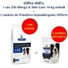 Offre Hill's: 1 sac Prescription Diet Canine Z/D Allergy & Skin Care 10 kg acheté = 2 sachets de Friandises Hypoallergenic Offerts