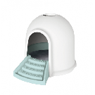 M-pets Igloo Maison de toilette 2en1 blanc & bleu chat