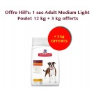 Offre Hill's: Hill's Science Plan Canine Adult Medium Light au poulet 12 kg + 3 kg offerts