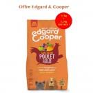 Offre Edgard & Cooper: 1 sac Croquettes au Poulet frais sans céréales Chien Adulte 12 kg acheté = 1 sac de 2,5 kg offert