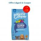 Offre Edgard & Cooper: 1 sac Croquettes Saumon Norvégien Frais Chien Adulte 12 kg acheté = 1 sac de 2,5 kg offert
