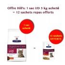 Offre Hill's: 1 sac Hill's Prescription Diet Feline I/D 5 kg = 12 sachets repas Feline I/D Offerts