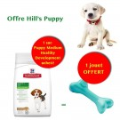 Offre Hill's Puppy: 1 sac Science Plan Puppy Medium Healthy Development au poulet 12 kg acheté = 1 jouet Orbee-Tuff Bone L offert