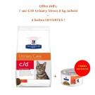 Offre Hill's: 1 sac Prescription Diet Feline C/D Urinary Stress au poulet 8 kg acheté = 4 boites C/D Urinary Stress mijotés au poulet et légumes offertes-  La Compagnie des Animaux
