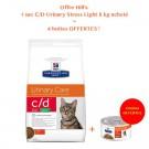 Offre Hill's: 1 sac Prescription Diet Feline C/D (Multicare) Urinary Stress Light au poulet 8 kg acheté = 4 boites C/D Urinary Stress mijotés poulet légumes offertes- La Compagnie des Animaux