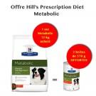 Offre Hill's: 1 sac Prescription Diet Canine Metabolic 12 kg acheté = 2 boites Metabolic 370 g offertes