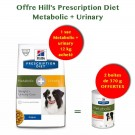 Offre Hill's: 1 sac Prescription Diet Canine Metabolic + Urinary 12 kg acheté = 2 boites Metabolic 370 g offertes