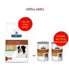 Offre Hill's: 1 sac Prescription Diet Canine J/D Reduced Calorie 12 kg acheté = 2 boites J/D offertes