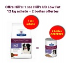 Offre Hill's: 1 sac Hill's Prescription Diet Canine I/D Low Fat 12 kg acheté = 2 boites Canine I/D Low Fat Offertes